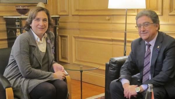 Reunión de la alcaldesa A.Colau y el delegado del Gobierno en Catalunya E.Millo.