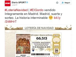 Tuit del diario deportivo Sport sobre el Gordo de Navidad