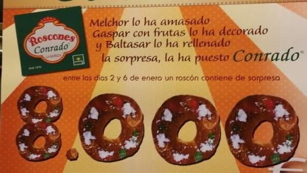 Cartel del Roscón y el premio de 8.000 euros