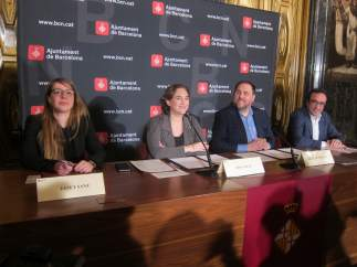Janet Sanz, Ada Colau, Oriol Junqueras y Josep Rull.