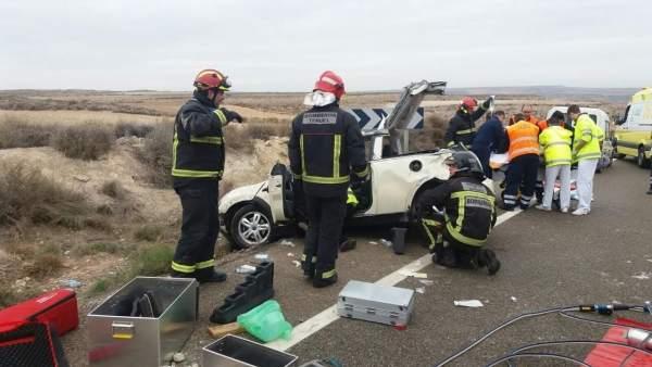Accidente de tráfico en la N-232, en Alzaila (Teruel)