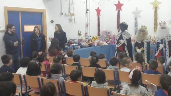 Colegio La Chanca de Almería durante el acto navideño.