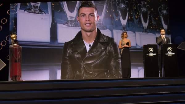Cristiano habla por videoconferencia en los Globe Soccer Awards