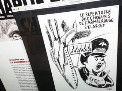 Imagen del semanario Charlie Hebdo satirizando el accidente del avión ruso.