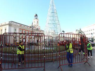 Vallado en la Puerta del Sol