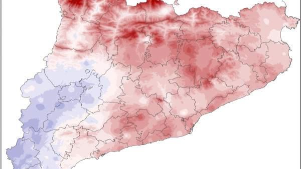 Mapa de temperaturas en Catalunya en diciembre de 2016