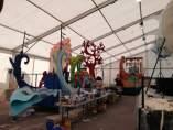 Preparación de las carrozas de la Cabalgata 2017 de Palma