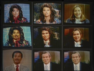 Robert Heinecken - A Case Study in Finding an Appropriate TV Newswoman (A CBS Docudrama in Words and Pictures) (detail), 1984