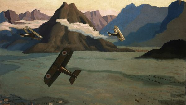 'British Sopwith Camels Leaving Their Aerodrome on Patrol over the Asiago Plateau', 1918
