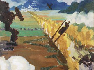 'Sopwith Camel Patrol Attacking an Austrian Aerodrome near Sacile', 1918