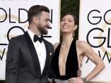 Justin Timberlake y Jessica Biel, en la alfombra roja de los Globos de Oro.