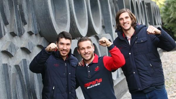 Alex Dujshebaev, Víctor Tomás y Viran Morros, de la selección española de balonmano