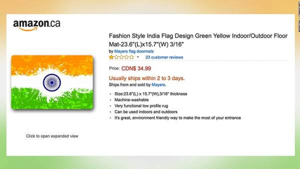 Felpudo con la bandera de India en Amazon
