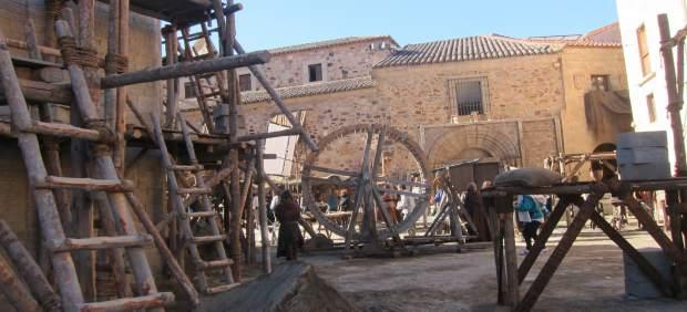 Decorado para la grabación de La Catedral del Mar en Cáceres