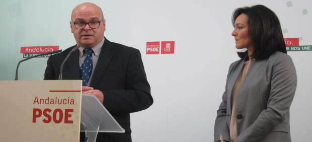 El portavoz municipal del PSOE en Jaén Manuel Fernández, con Rafaela Crespín.