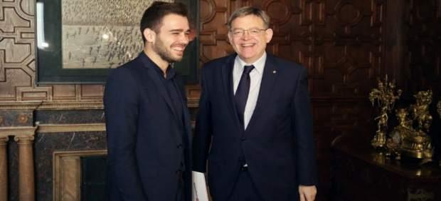 Ximo Puig y Fran Ferri antes de la reunión en el Palau