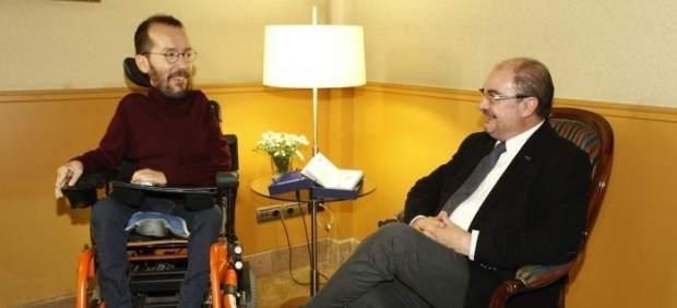 Javier Lambán y Pablo Echenique, reunidos en el Edificio Pignatelli