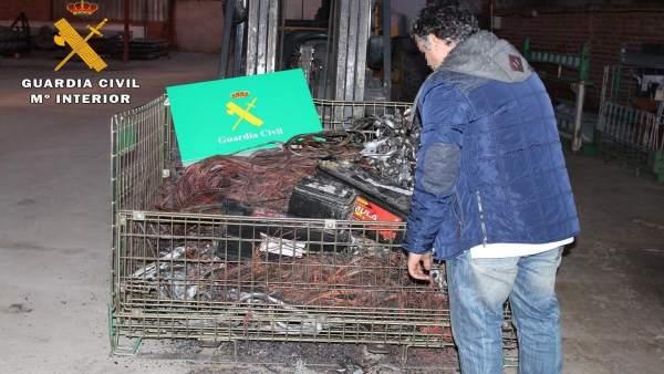 Imagen del cobre robado en La Moraña