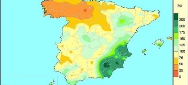 Mapa de lluvias acumuladas en España del 1-X-16 a 10-I-17