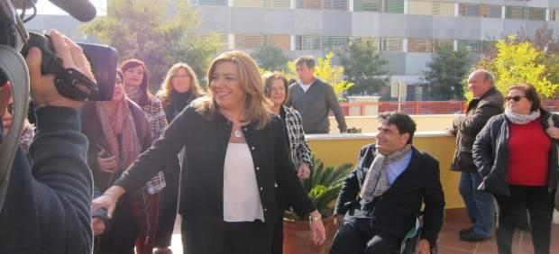 Susana Díaz a su llegada a la sede de Acpacys