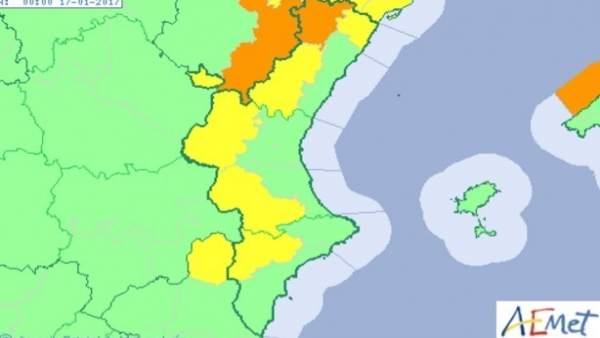 L'interior de Castelló en avís taronja per forts vents i la resta de l'interior de la Comunitat Valenciana en groc