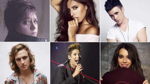 Los seis concursantes de Eurovisión