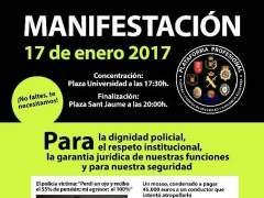"""Agentes policiales se manifiestan en Barcelona contra """"la impunidad de la CUP"""""""