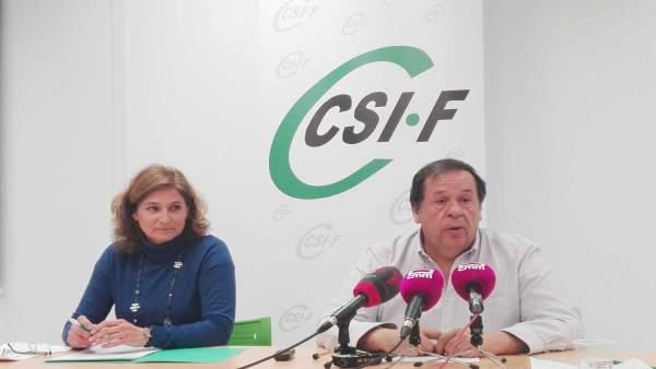 Responsables de CSIF en rueda de prensa