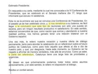 Carta de Puigdemont