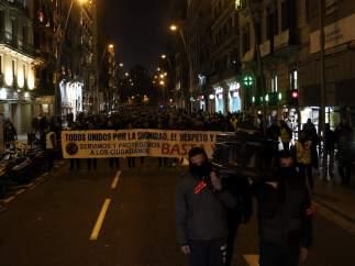 La manifestación de sindicatos de los mossos a la altura de la Via Laitena de Barcelona.