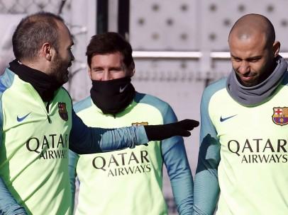 Iniesta, Messi y Mascherano