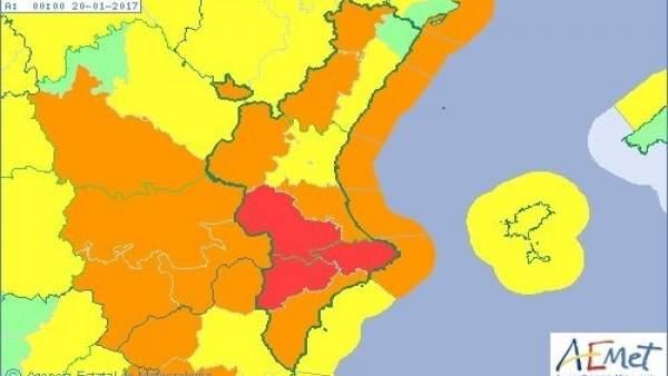 La comunitat en aviso por nevadas, lluvias, fenómenos costeros y viento