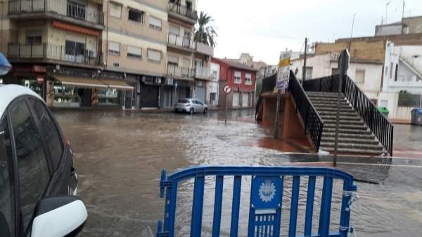Rambla de Espinardo cortada, lluvias, temporal