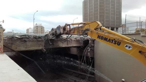 Obras del metro de málaga en puente de Tetuán