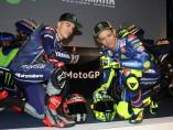 Viñales  y Rossi en la presentación del Movistar Yamaha