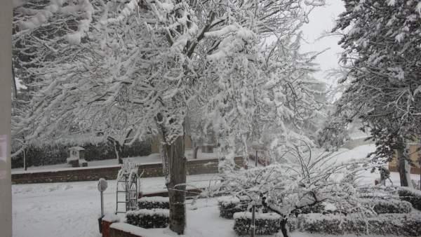 Instantánea de la nevada en Fontanar dels Alforins captada por un vecino