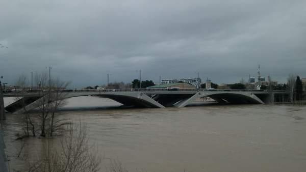 Crecida Ebro en Zaragoza.