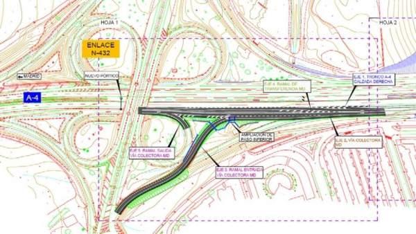 Plano del proyecto de nueva salida en la A-4 a su paso por Córdoba