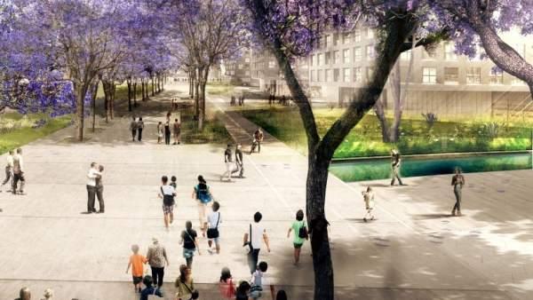 Recreación virtual de cómo será parte del nuevo parque de la plaça de les Glòries de Barcelona.