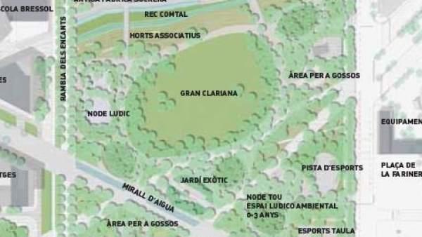 Plano de cómo quedará el parque de la plaça de les Glòries de Barcelona.