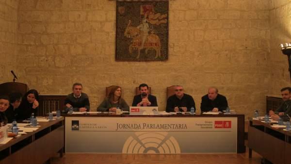 Luis Tudanca en la jornada Parlamentaria del Grupo Socialista en Fuensaldaña.