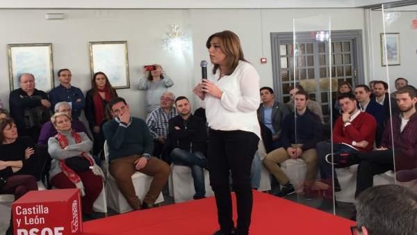Susana Díaz, durante su intervención en Palencia