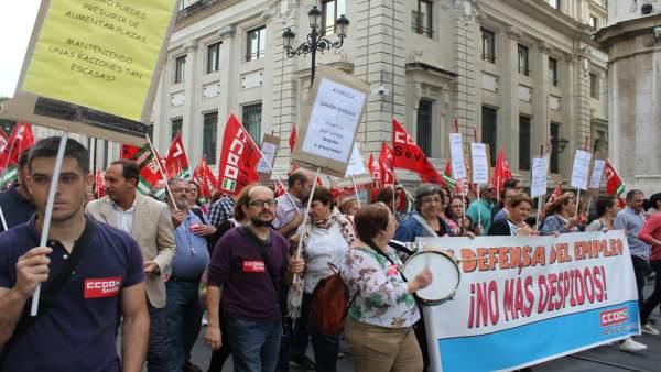 Protesta de los empleados de los comedores escolares.