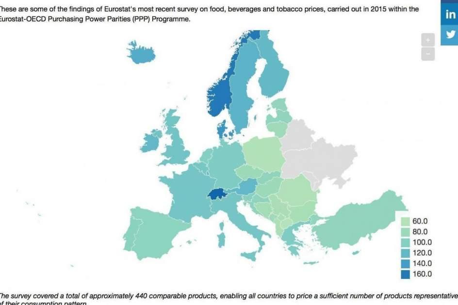 El mapa de Europa con los pases donde es ms cara la comida