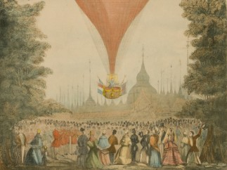 The crowd cheers the London ascent of the balloon Royal Sultan, flown by Mr. Charles Paternoster, August 7, 1854