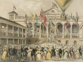 An enthusiastic crowd gathers for George Graham's launch from the New Hungerford Market, London, July 2, 1833