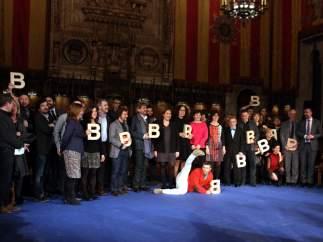 Foto de familia de los galardonados a los Premios Ciutat de Barcelona en 2016.
