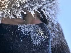 Ojos, frío, nieve, invierno, helado, bufanda