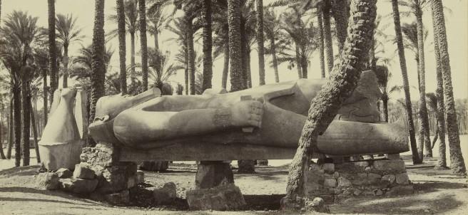 Antonio Beato (1834-1906), Statue of Ramses II at Memphis, Egypt, ca. 1880-1890