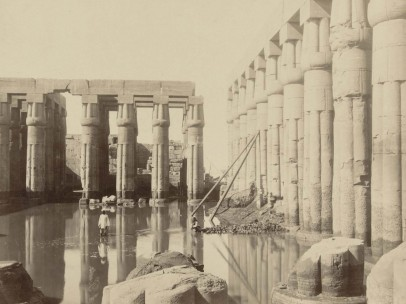 Antonio Beato - Luxor temple complex, partially submerged due to high water level of the Nile, ca. 1890